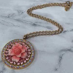 Tarina Tarantino Pink Flower Pendant Necklace